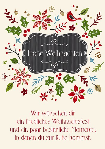 doppelkarte frohe weihnachten mit spruch von nicole. Black Bedroom Furniture Sets. Home Design Ideas
