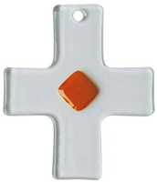 "Glas ""Schmuckkreuz"" transparent-orange"